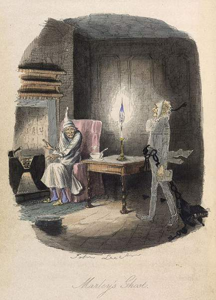 'Marley's Ghost. Ebenezer Scrooge visited by a ghost.' Illustration by John Leach for Charles Dickens's 'A Christmas Carol in Prose' dated 1843. Image courtesy of The British Library