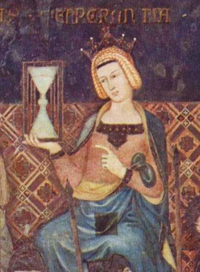 Ambrogio Lorenzetti's fresco painted between 1337 and 1339 entitled 'The Allegory of the Good and Bad Government' features the first known depicted of an hourglass in either art or letters. Image courtesy of Wikimedia Commons