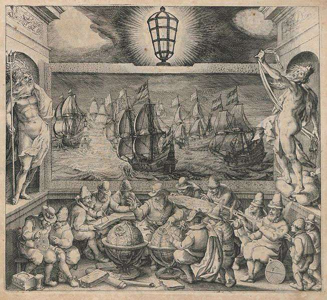 Engraving by Willem Blaeu, dated 1608, for the book Licht der Zeevaert (The Light of Navigation) showing the sciences which made seafaring possible, including globes, maps, compass, astrolabe, divider and in the bottom left hand corner, the hourglass