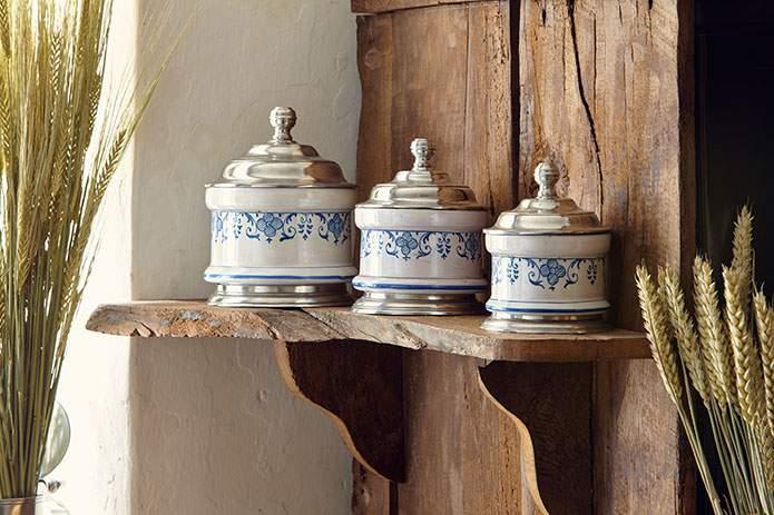 Cosi Tabellini ceramic & pewter storage jars - standing to attention at The Farmhouse - Corner of Eden, Cumbria