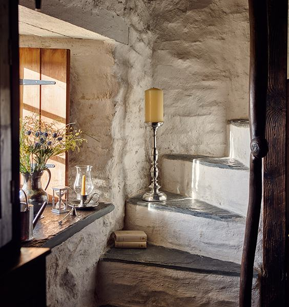 Evocative edges; nooks & crannies up the stairs at Ty Unnos - The Welsh House, Carmarthenshire