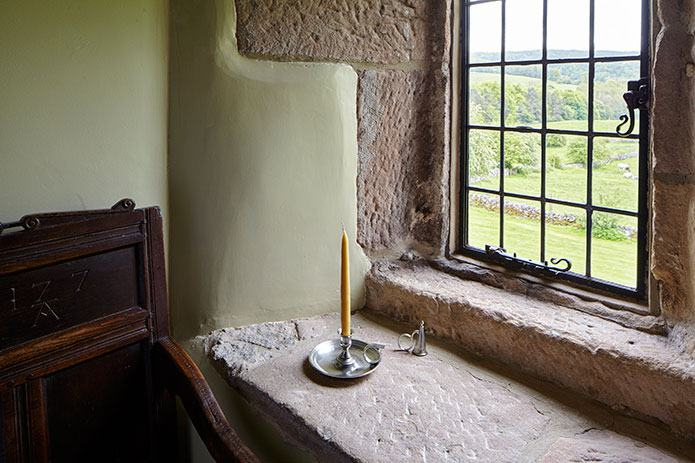 Simply stunning in stone - stone mullioned leaded window and cill at The Chapel, Harthill Hall, Bakewell, Derbyshire