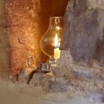 Candlelight set against set in Angel Barn, A Corner of Eden, Cumbria