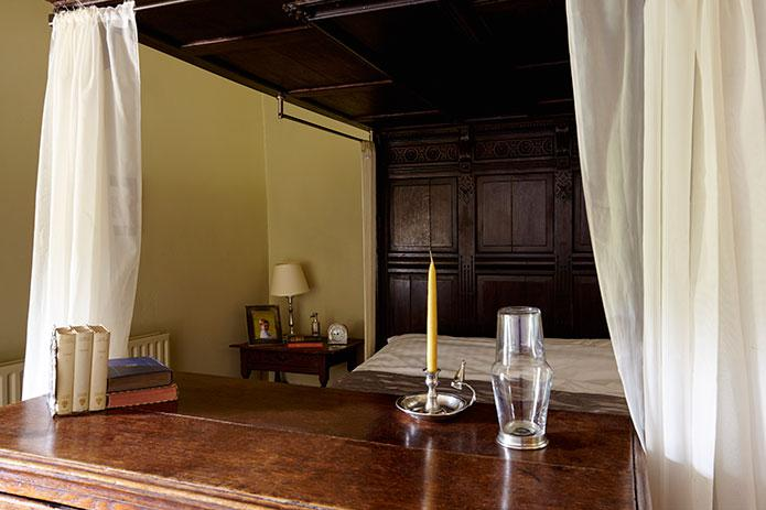Simple pewter bedroom candleholder at The Chapel, Harthill Hall, Peak District