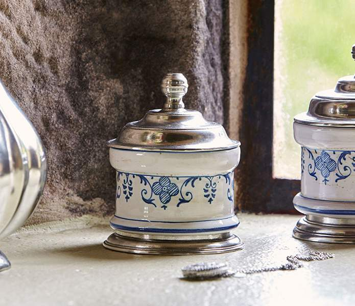 Handcrafted Cosi Tabellini pewter & ceramic at The Chapel, Harthill Hall, The Peak District