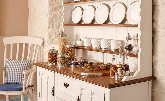Contemporary ceramic & pewter within Welsh Dresser at The Grove, Narberth, Pembrokeshire