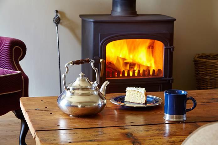 Tea-time in beautiful blue ceramic & pewter at Angel Barn, Corner of Eden, Cumbria