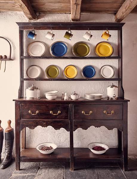 Ceramic storage & crockery displayed on a traditional welsh dresser, Bryn Eglur, The Welsh House, Carmarthenshire