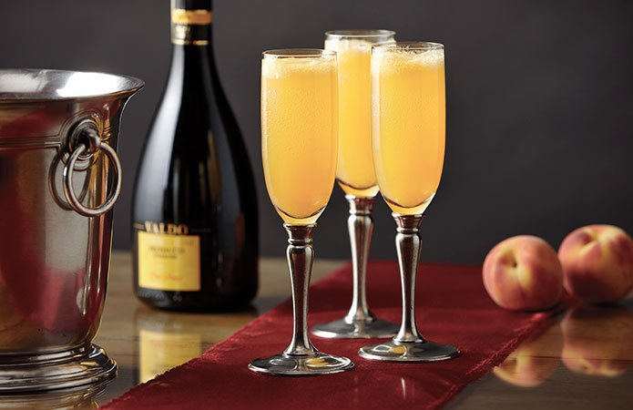 The Bellini, made from Prosecco and white peach juice