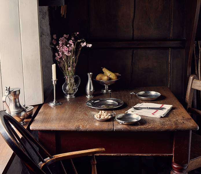 Glass, pewter & wood conjure a rustic rhythm at Bryn Eglur, The Welsh House, Carmarthenshire